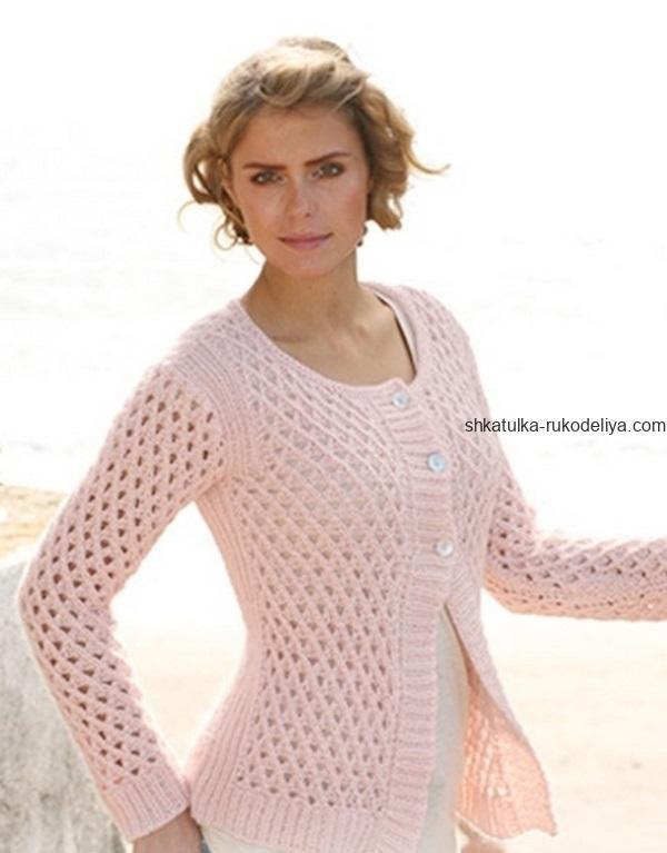 вязание спицами, жакет, для женщин, розовый, сеточка, платочная вязка, схема, стильный
