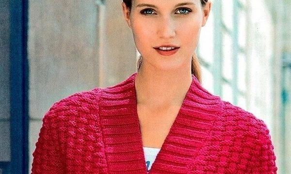 вязание спицами, кардиган, схема, описание, красный, на пуговицах, простой, стильный, для женщин