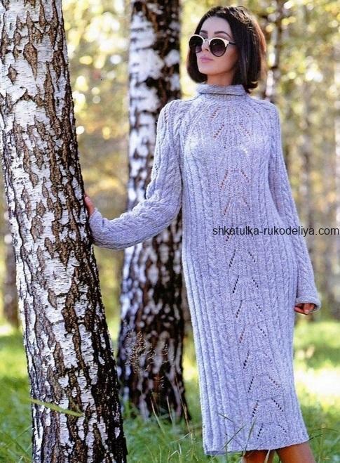 вязание спицами, платье, схема, описание, длинное, мохеровое, теплое, для женщин, рельефный узор