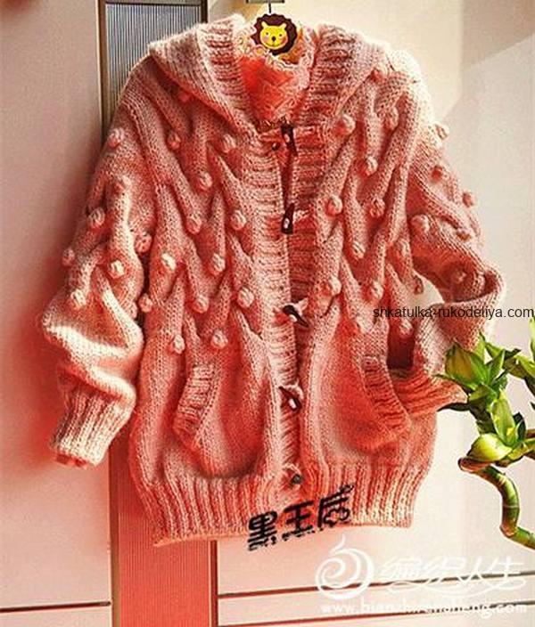 вязание спицами, пальто, для девочки, схема, теплое, капюшон, рукав резинка, на пуговицах
