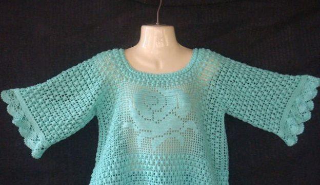 вязание крючком, пуловер, схема, описание, узор шишечка, филейная техника, для женщин