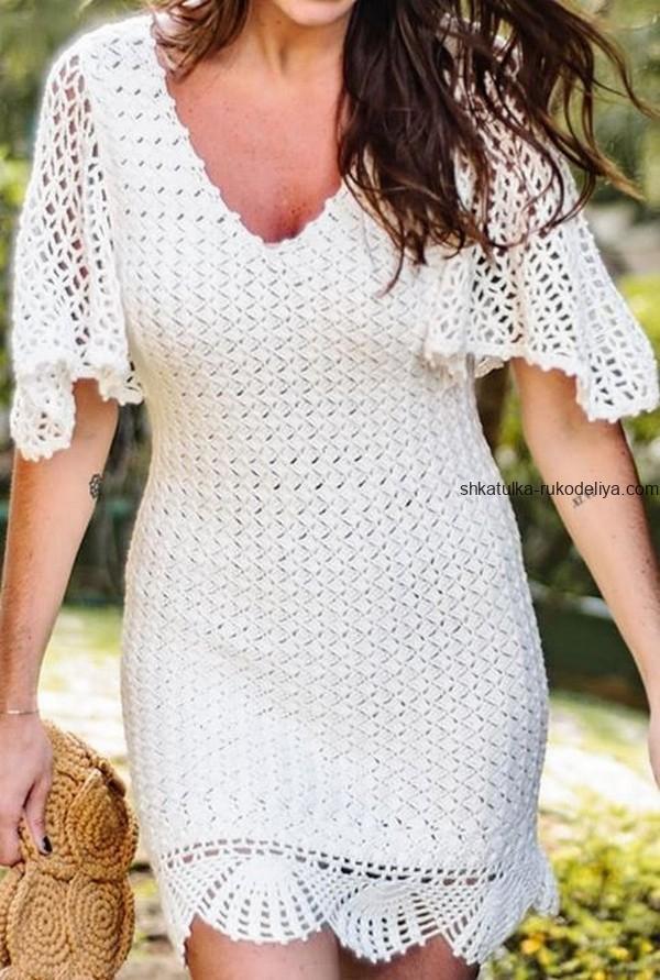 вязание крючком, платье, белое, схема, летнее, v образный вырез, для женщин, элегантное