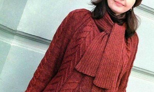 вязание спицами, пальто- пончо, для женщин, схема, описание, осеннее, стильное, бордовое
