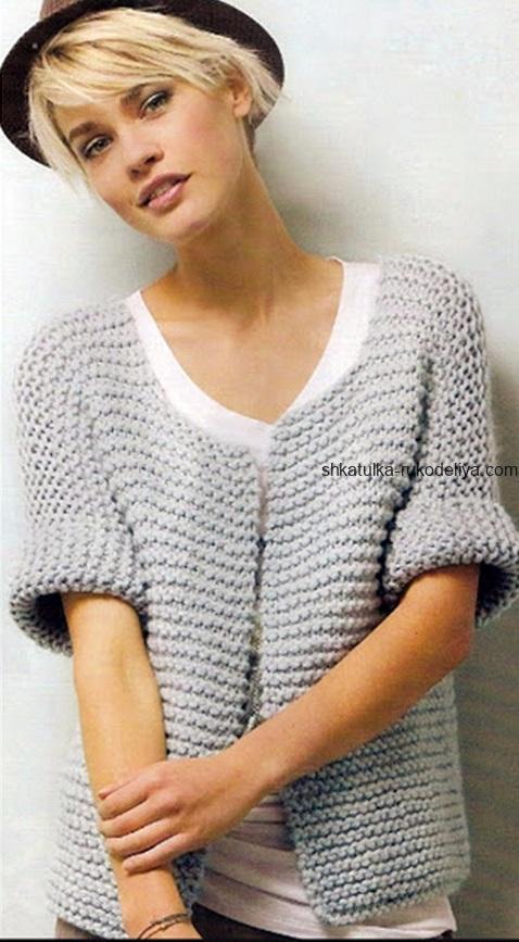 вязание спицами, жакет, описание, для женщин, платочная вязка, модный, серый