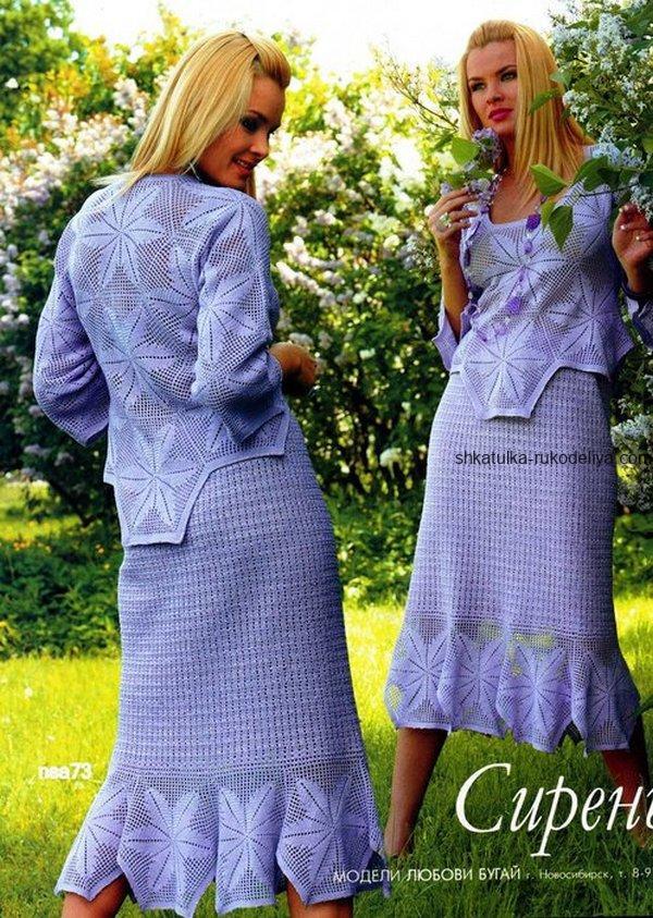 вязание крючком, комплект, блуза, юбка, сиреневый, схема, описание, летний, шестиугольный мотив