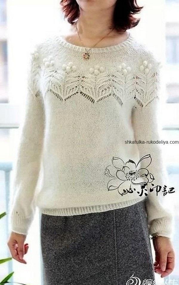 вязание спицами, пуловер, схема, для женщин, красивая кокетка, стильный, японская модель